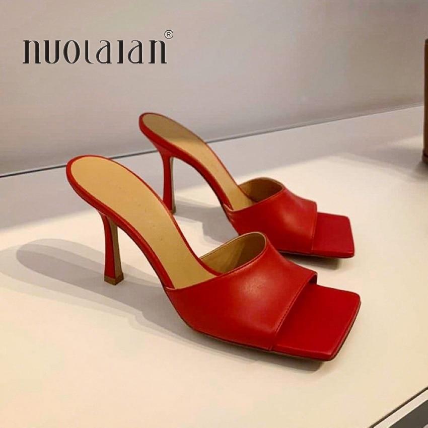 2020 New Square Toe High Heels Sandals Women Fashion Open Toe Slipper Women's Sandals Summer Designer Mules Shoes Women