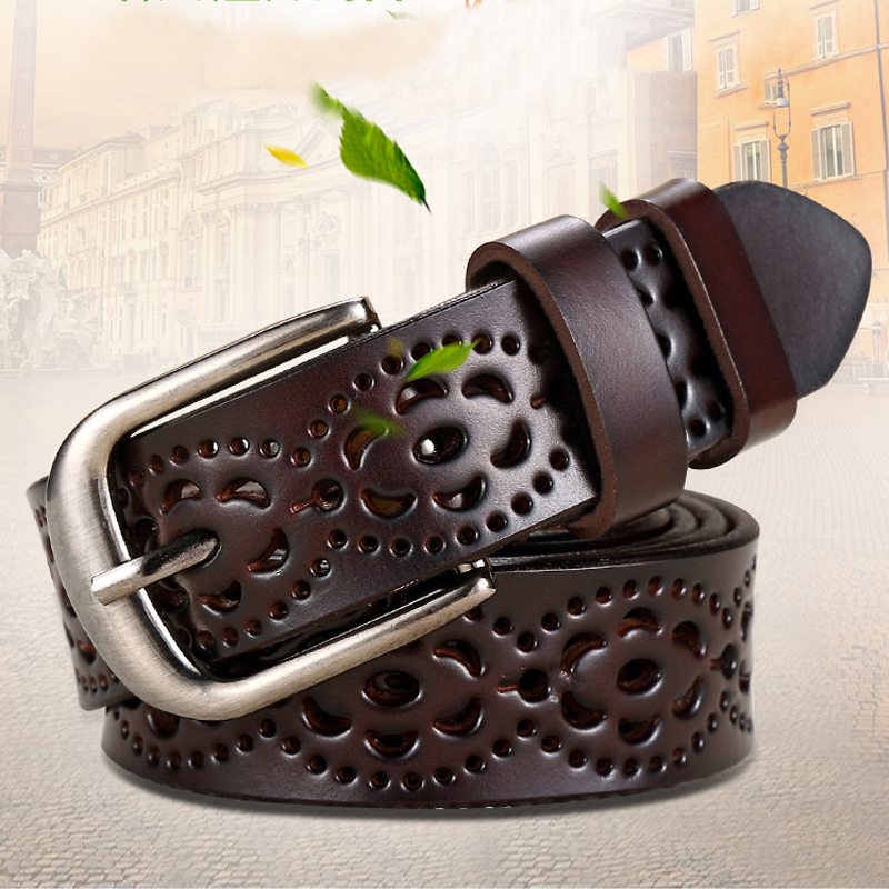 Fashion Genuine Leather Belt Women Waist Cinturon Mujer Designer Casual Pants Accessories Hollow Out Adjustable Waistband 2020