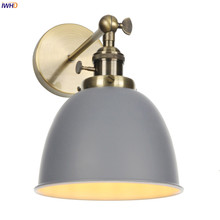 IWHD gris Metal Retro LED pared luz dormitorio Beisde espejo escalera decoración de Loft lámpara de pared Industrial aplique Vintage