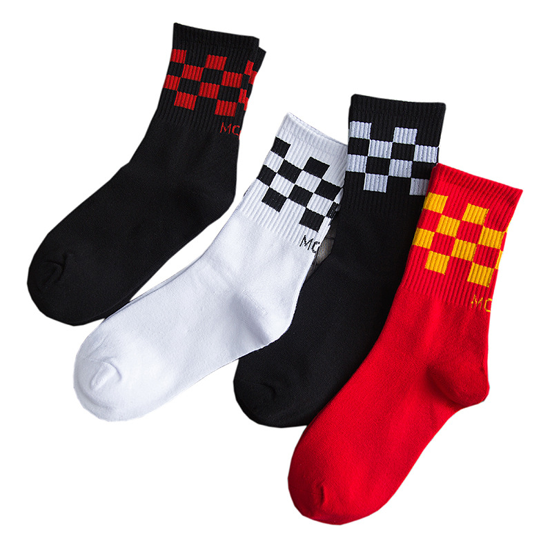 2020 New Fasahion Couple Socks Unisex Socks Plaid Socks Hip Hop Street Style Socks Skates Socks Sports Socks Cotton Socks