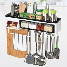 1 pcs Multi-functional wall-mounted kitchen shelf Creative seamless nail-free large capacity rack