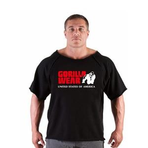 Спортивный костюм с принтом черепа, футболка, рубашка с мускулами, тренды В фитнесе, Мужская одежда для бодибилдинга Gorilla, рубашка с рукавом «летучая мышь», Тряпичные Топы