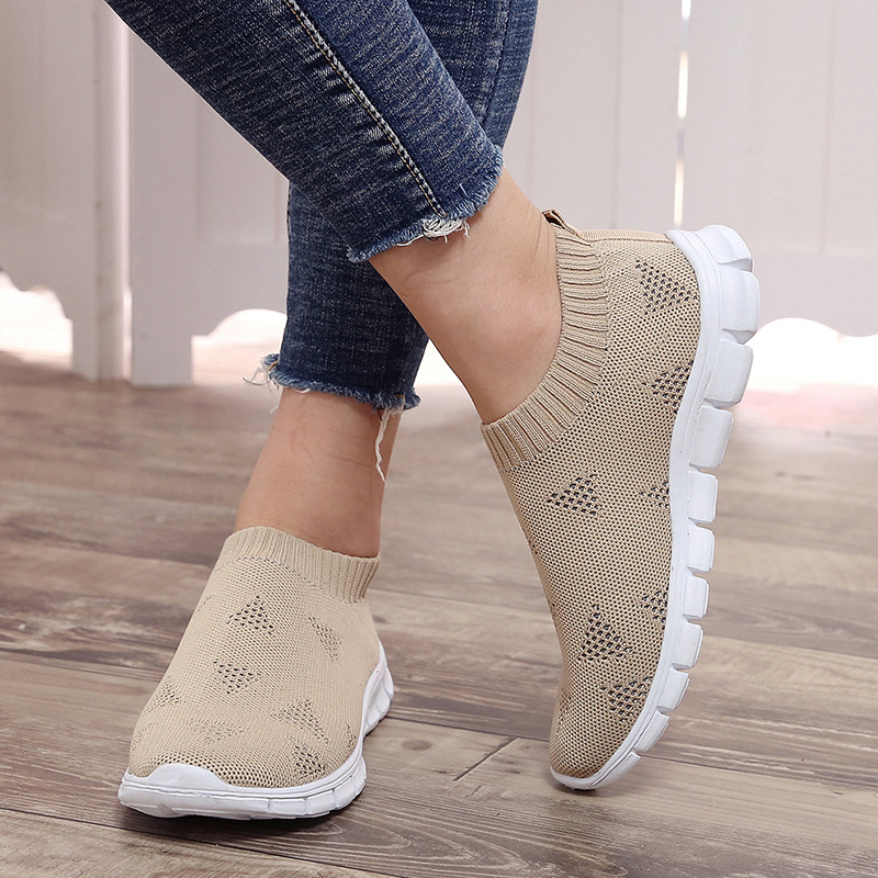 Rimocy Plus Size 46 Breathable Mesh Platform Sneakers Women Slip on Soft Ladies Casual Running Shoes Woman Knit Sock Shoes Flats 5