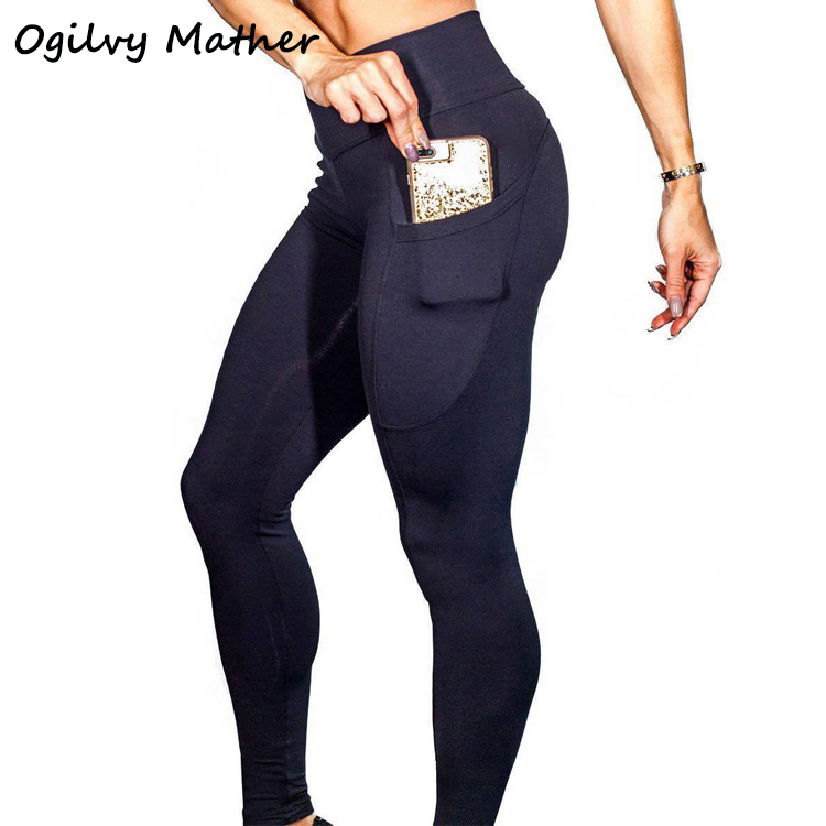 Ogilvy Mather 2020 Women Brand New Sports Leggings For Fitness High Waist Outdoor Legging With Pocket Tummy Control SportsPants