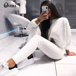 Image 1 - Ohvera Knitted 2 Piece Set Women Long Sleeve Crop Tops And Long Pants Sexy 2018 Winter Sweater Two Piece Set Outfits