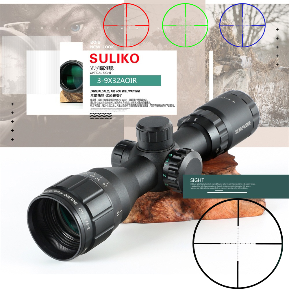 SULIKO 3-9x32 Riflescope Tactical Rifle Scope Glass Etched Reticle Hunting Optics Sight  Red Dot R/G/B  Mounts  Hunting Scope
