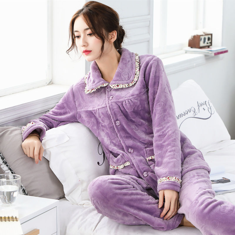 Winter Thickened Women Pajamas Sets Warm Women Sleepwear Flannel  Fleece Velvet  Pyjamas Female Homewear Pajama