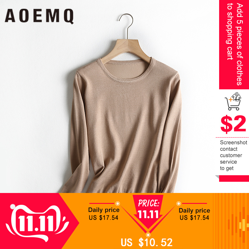 AOEMQ Causal Simple Sweaters O-Neck 3 Colors Solid Sweaters Winter/Autumn Thin Long Sleeve With Button Decoration Clothing