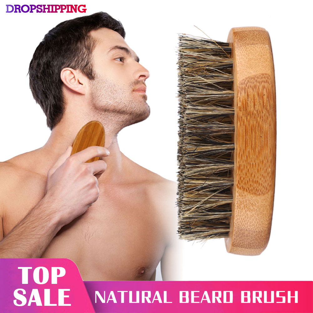 8cm Men Beard Brush Natural Boar Bristle Shaving Comb Face Massage Handmade Yellow Mustache Brush Beauty Care