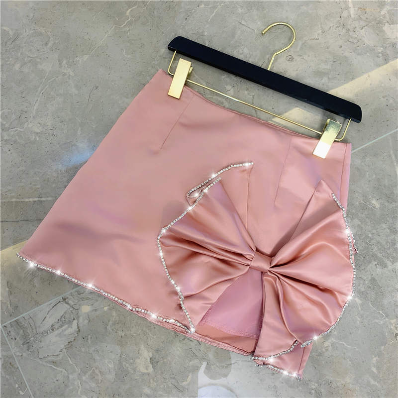 Winter Temperament Diamond Big Bow Tie High Waist Satin Skirt Women Fashion Pink Black Skirt Ladies All-match Hip Skirt Femme