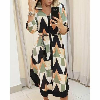 Autumn Elegant Office Midi Geometric Shirt Dress chiffon Woman Print Midi Dress Vintage Dresses Long Sleeve Belt Casual Vestidos bell sleeve floral chiffon midi dress