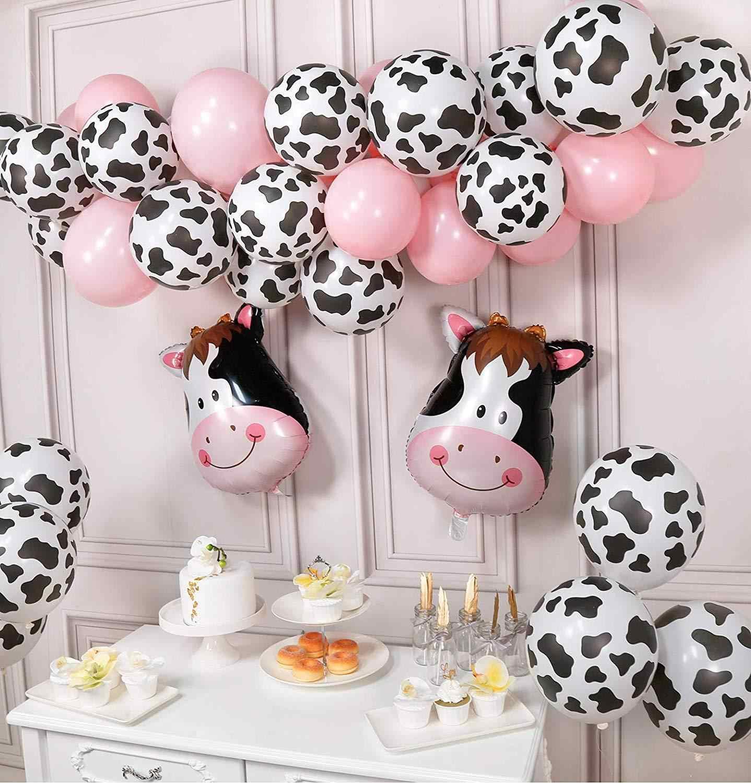 Cartoon Animals Globos Cow Print Latex Balloons For Farm Theme Birthday Party Decor Zabra Head Baby Shower Supplies Party Diy Decorations Aliexpress