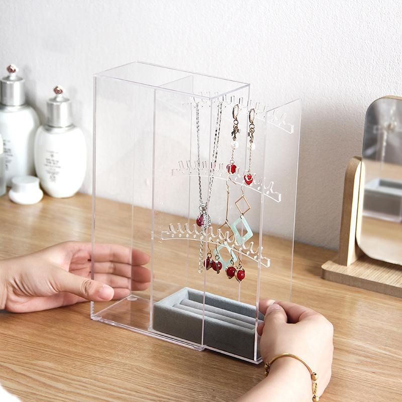 Fashion 3-layer Acrylic Jewelry Earrings Show Hanging Display Dustproof Storage Box Earring Hanging Rack Showcase Props