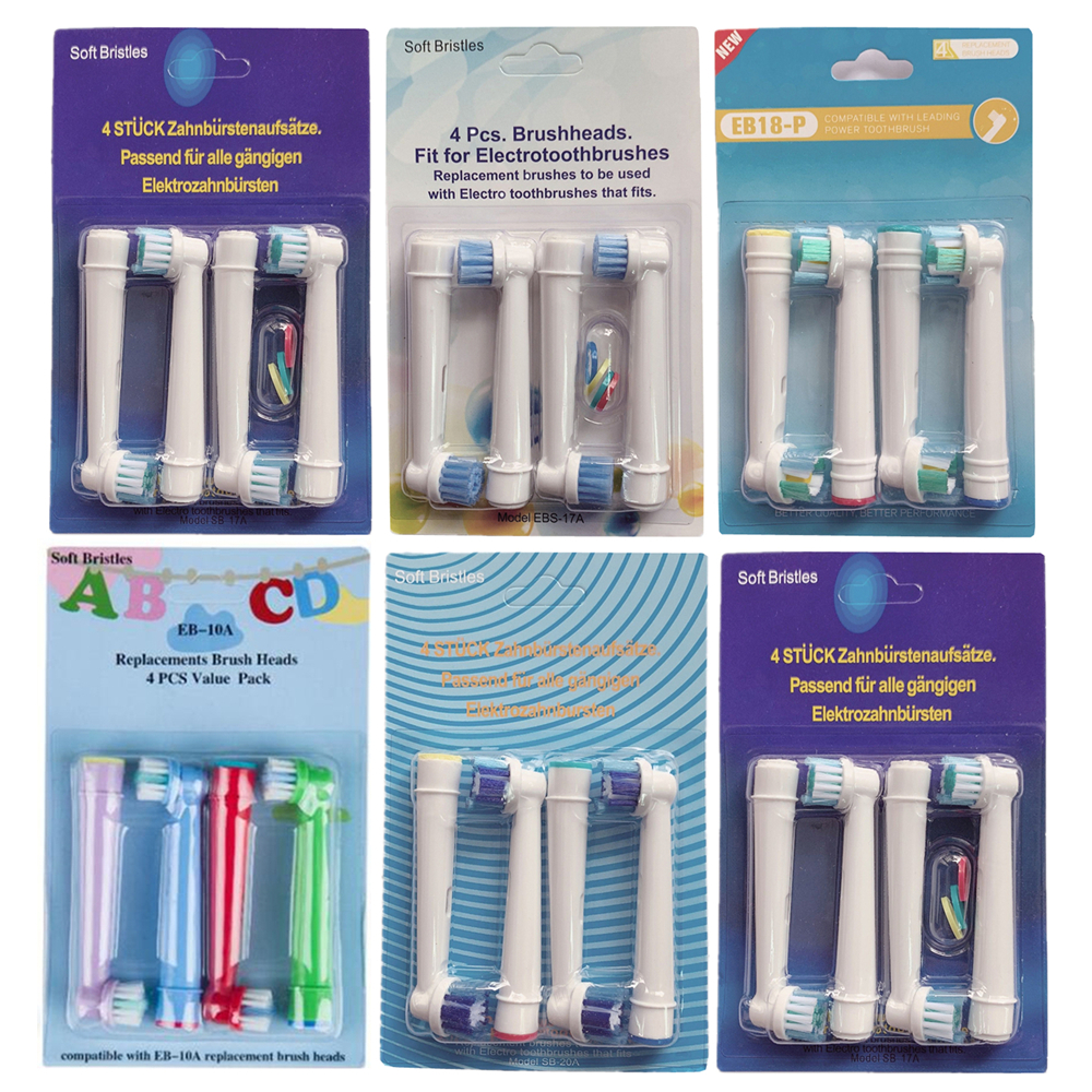 Electric ToothBrush Heads For Oral B Rotary Electric Toothbrush Cross Action Replacement Teeth Brush Head 4pc/Pack Or 8pc/Pcak