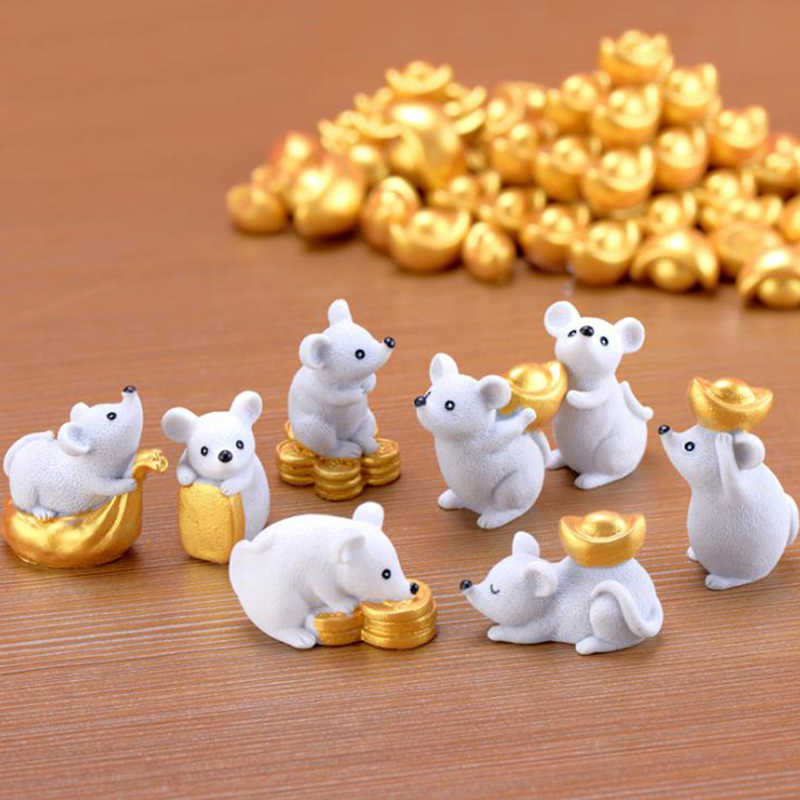 Figurines Miniatures 8pcs/set Rich Rat Mouse Resin Bonsai Animals Home Decoration Accessories Crafts Figurines DIY Resin Gift