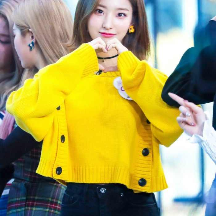 Kpop Blackpink Rose Yellow Double Breasted Knitting Hoodies Women