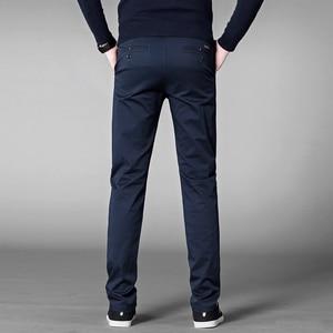 Image 5 - סתיו מזדמן מכנסיים גברים 2020 עסקים למתוח כותנה ישר Fit מכנסיים זכר לבוש הרשמי מכנסיים שחור חאקי בתוספת גודל 42 44 46