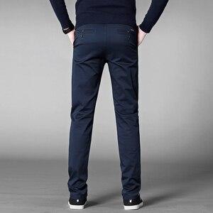 Image 5 - الخريف بانت عادية الرجال 2020 الأعمال تمتد القطن مستقيم صالح بنطلون ذكر سروال فستان رسمي أسود كاكي حجم كبير 42 44 46