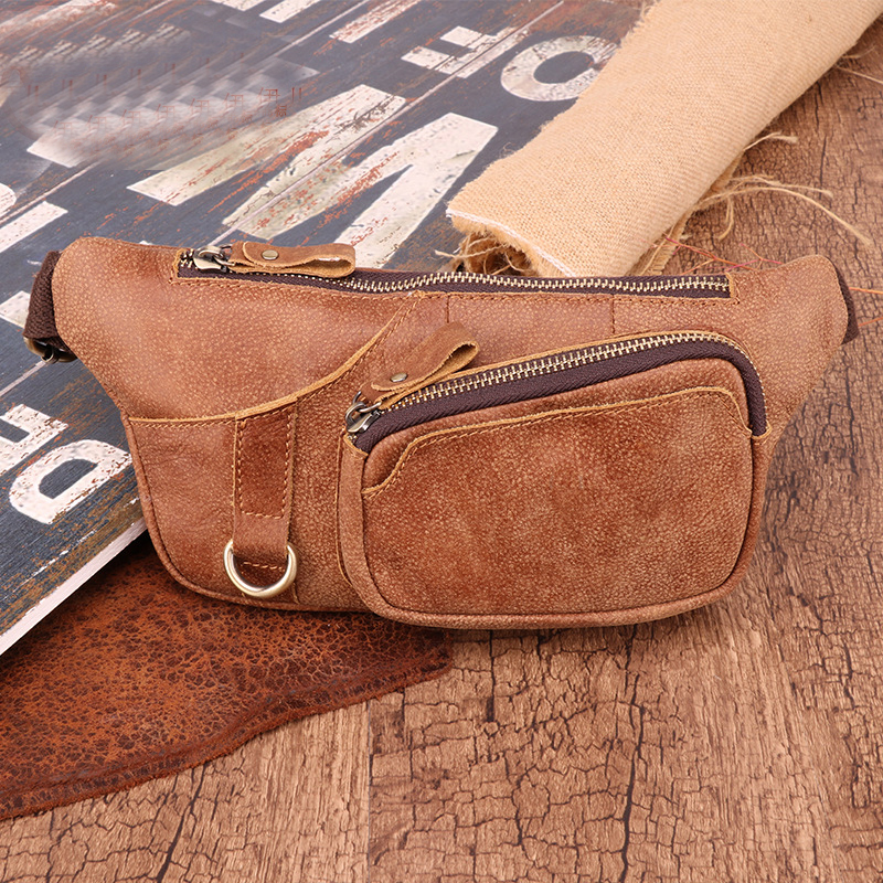 New Men'S Waist Bag Korean Multifunctional Outdoor Waist Chest Box And Shoulder Sports Bags Frosted Leather Male'S Bags For 6467