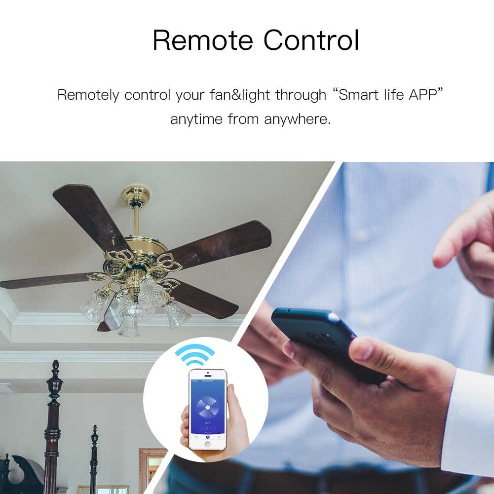 WiFi inteligentny wentylator sufitowy z lampą przełącznik do montażu ściennego inteligentne życie/pilot aplikacji Tuya różne kontrola prędkości współpracuje z Alexa Echo Google Home