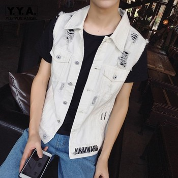 Design New Spring Letter Printed Mens Sleeveless Denim Vests Fashion Single Breasted Hole Ripped Slim Male Waistcoats Plus Size