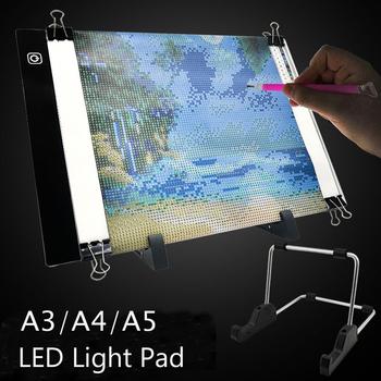 A5 A4 A3 podświetlana podkładka LED pokładzie 5d diament malarstwo śledzenia deska do kopiowania z 3 poziom jasności zasilany przez port USB Tablet graficzny tanie i dobre opinie ARTDOT OBRAZY CN (pochodzenie) PAPER BAG Trójwymiarowe Akrylowe Pełna ENDLESS Zwijane POWYŻEJ 45 Plac Nowoczesne Diamond Painting Light Pad