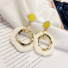 Korean Fashion temperament Wooden Drop Earrings Personality Simple Geometric Hollow Water Dangle Brincos