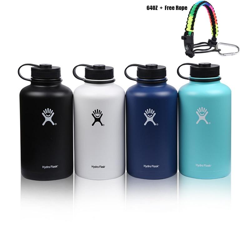 Bouteille d'eau Hydro fiole avec paille corde tressée boussole 60OZ flacons sous vide Thermoses bouteilles de Sport en acier inoxydable hydrofiole