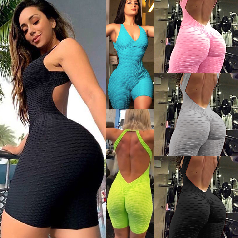 Retro Sexy Backless Playsuit Fitness Tights Jumpsuits Costume Sport Suit Gym One Piece Bodysuit Tracksuit For Women hot