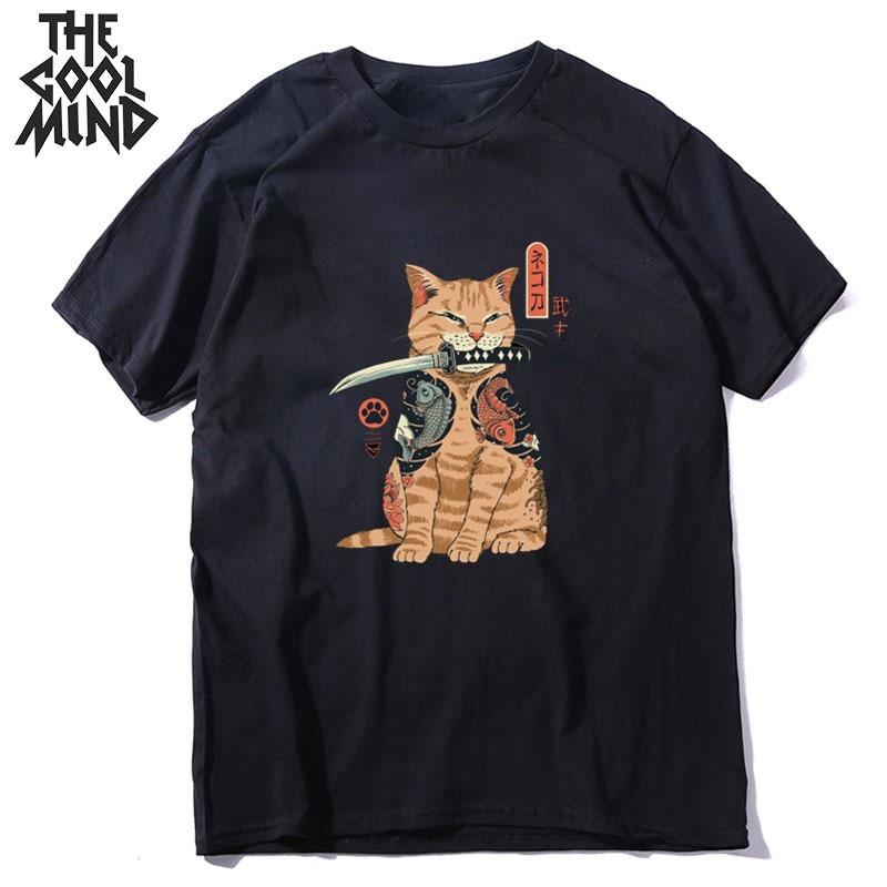 COOLMIND 100% cotton streetwear cat print men T shirt casual loose short sleeve men tshirt o-neck t-shirt men tee shirts tops