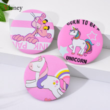 Vicney Creative New Portable Ladies Pocket Round Cute Cartoon Pattern Pink Cute Leopard Unicorn Makeup Mirror High Quality(China)