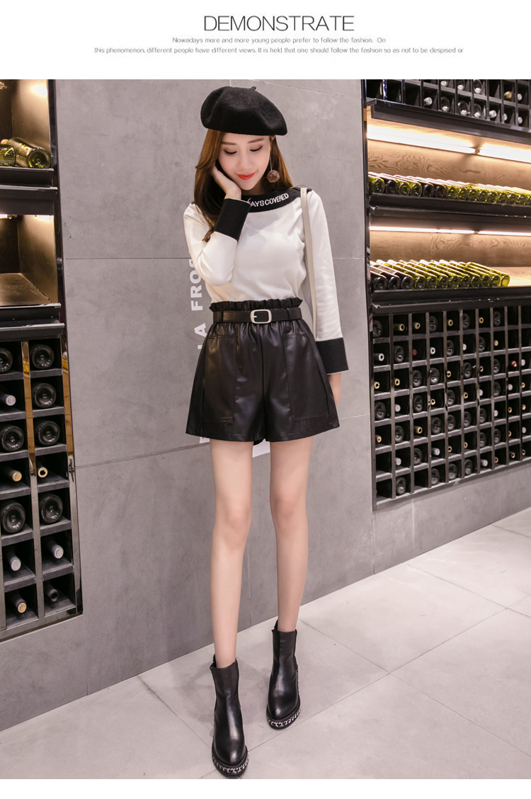 Elegant Leather Shorts Fashion High Waist Shorts Girls A-line Bottoms Wide-legged Shorts Autumn Winter Women 6312 50 81