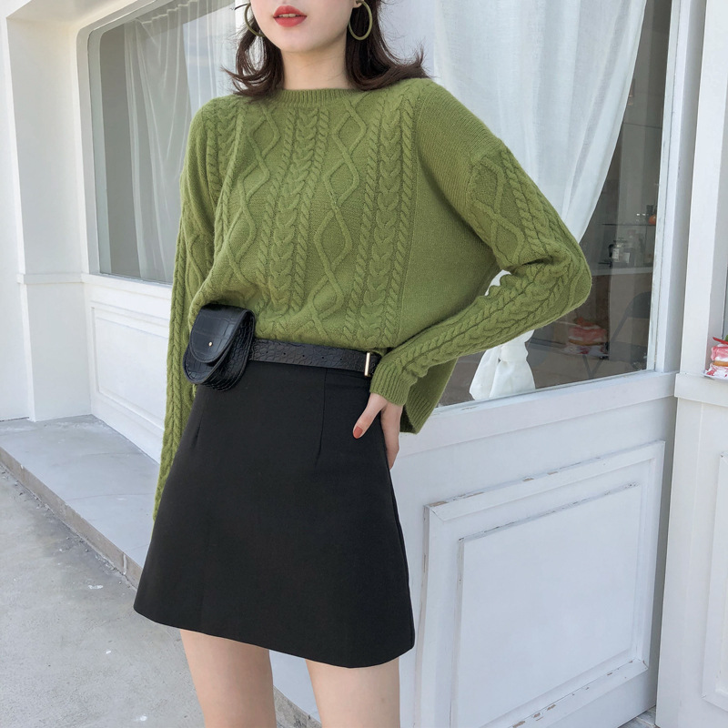 [Song Ming] To Send Wallet 2019 Autumn Clothing New Style Korean-style Black And White With Pattern High-waisted A- Line Short S