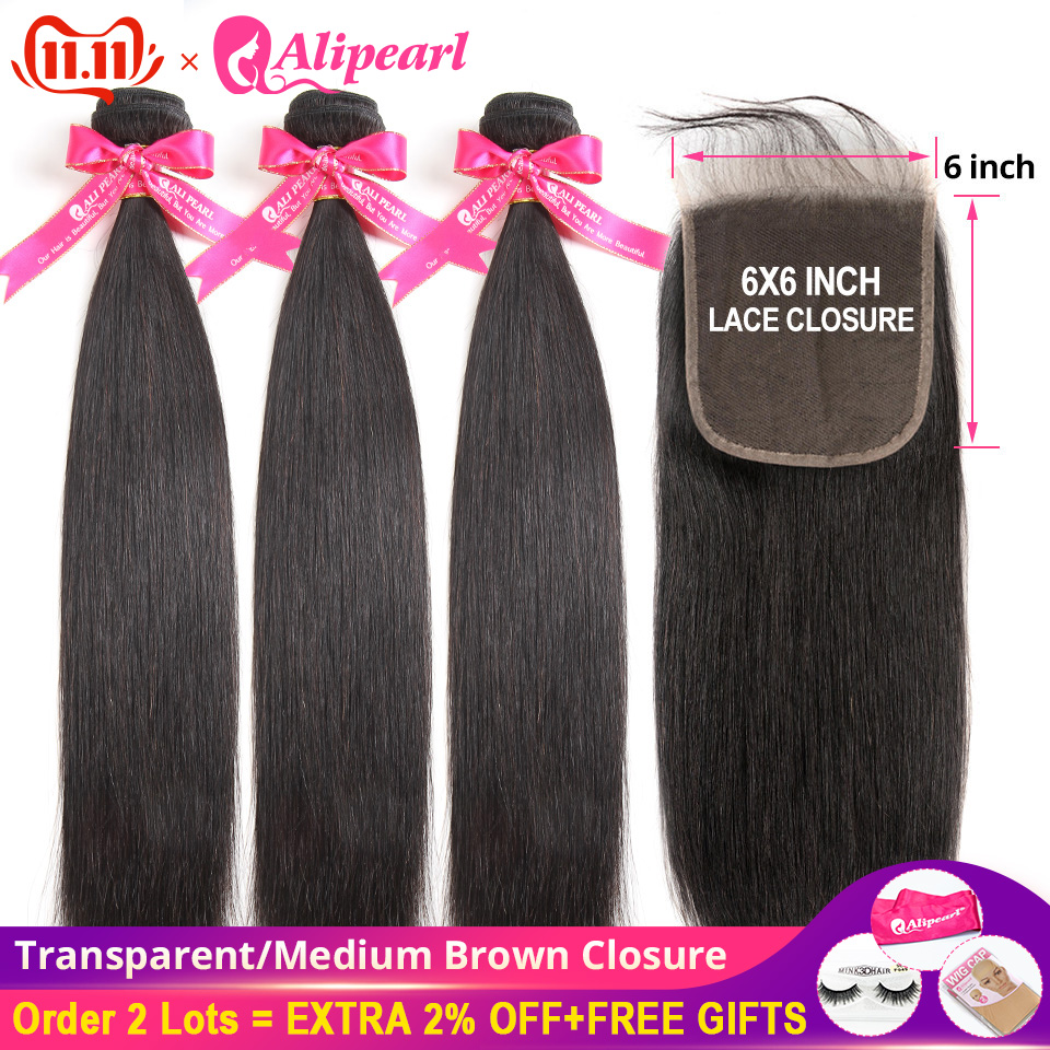 AliPearl Human Hair Bundles With 6x6 Transparent Lace Closure Brazilian Straight Hair 3 Bundles With Closure Remy Hair Extension