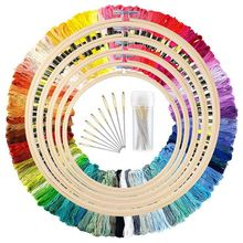 New 5 Pieces Bamboo Embroidery Hoops with 100 Colors Skeins Embroidery Thread Floss Cross