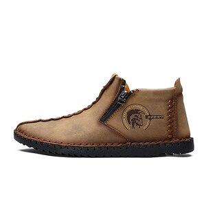 Image 3 - Mocasines clásicos cómodos para hombre, zapatos muy cálidas de invierno, de cuero partido, informales, de talla grande