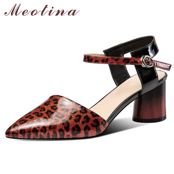 Meotina High Heels Women Pumps Natural Genuine Leather Round High Heels Shoes Cow Leather Buckle Pointed Toe Shoes Lady Size 39