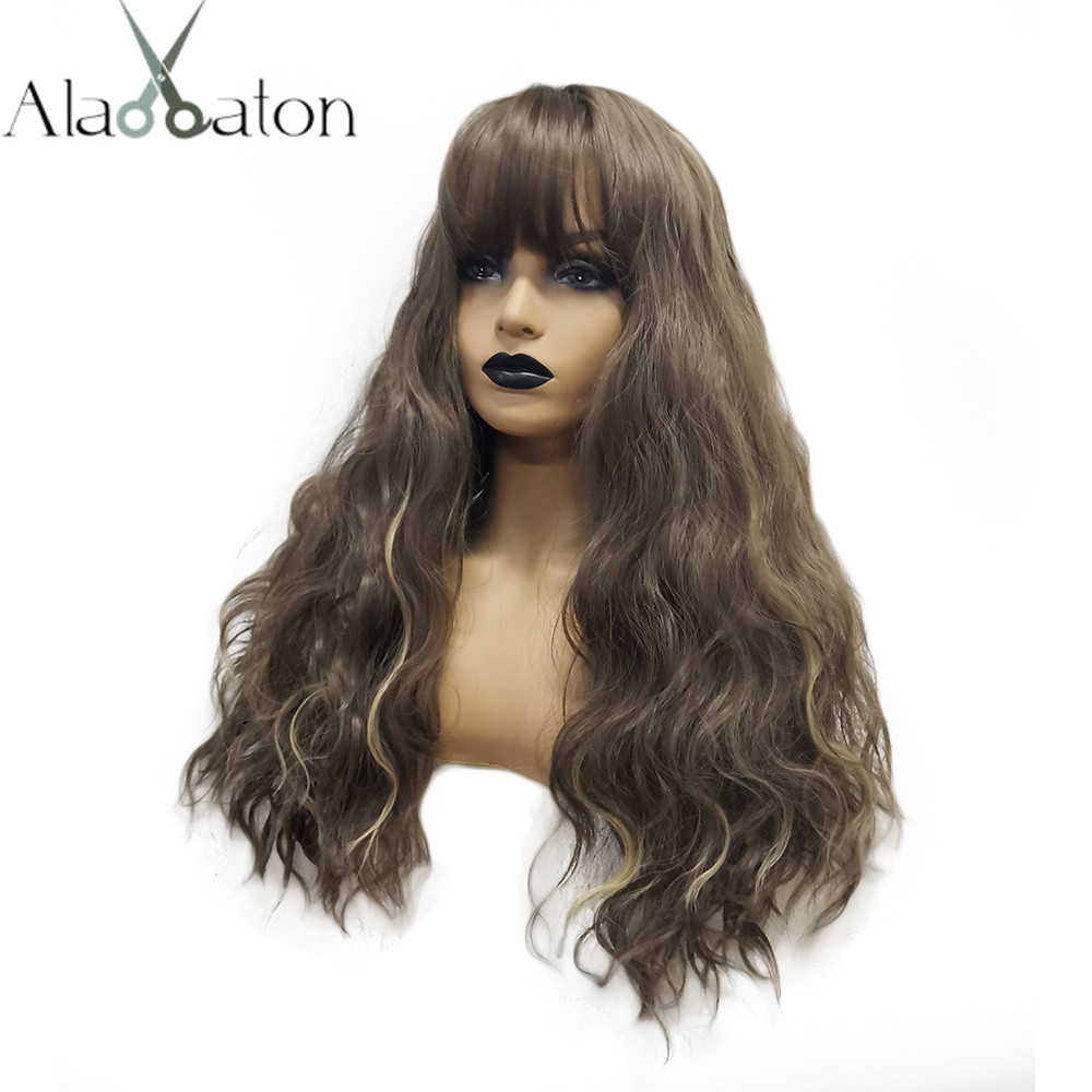 ALAN EATON Long Wavy Wigs For Black Women African American Synthetic Hair Dark Brown Blonde Wigs With Bangs Heat Resistant Wig