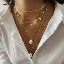 IngeSight.Z Bohemian Multi Layer Imitation Pearl Tassel Choker Necklace Collar Statement Gold Pendan