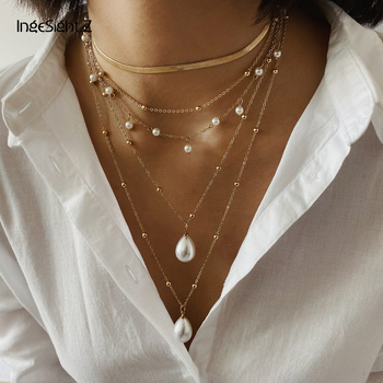 IngeSight.Z Bohemian Multi Layer Imitation Pearl Tassel Choker Necklace Collar Statement Pendant Necklace for Women Jewelry