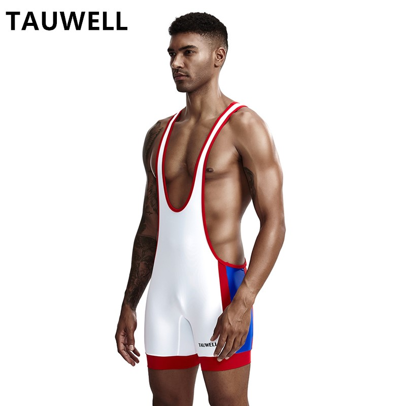 TAUWELL Men's Vest Playsuit Sexy Men's One Piece Bodysuit Thin Quick-drying Fabric Tight Fitness Wrestling Suits Shapers