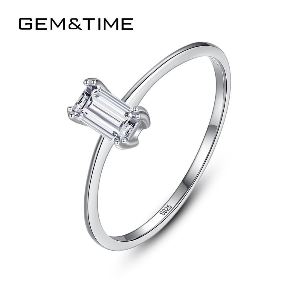 Gem&Time New Square Cubic Zirconia Rings Real 925 Sterling Silver Ring For Women Korean Minimalist Thin Ring Jewelry Anillo 925