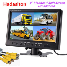 Car-Monitor Truck Split-Screen Cctv-Security-System 9inch 4-Video-Input And Bus Use-For