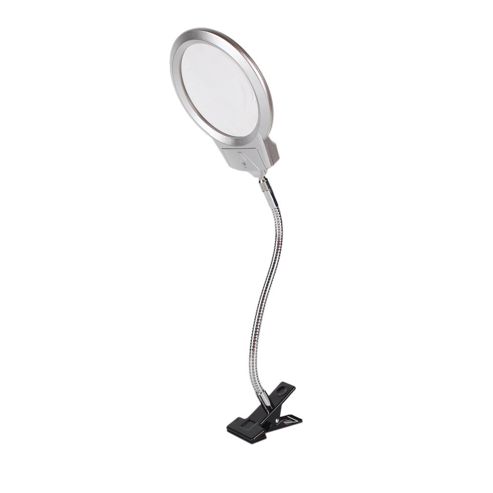 LED Lighted Lamp Clip On Desktop Illuminated Magnifier Magnifying Glass Reading Loupe Metal Hose  Top Desk Magnifier With Clamp|Magnifiers|   - AliExpress