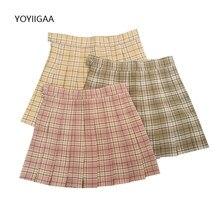 Plaid Women Pleated Skirts Summer High Waist Female Mini Skirt Preppy Style Ladies Girls Dance Skirt Casual A-line Woman Skirts