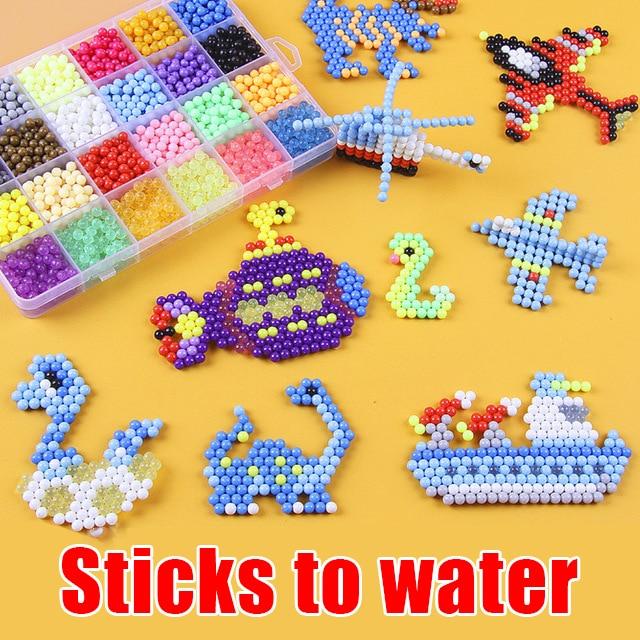 Children's Diy Water Mist Beads Handmade Kids Beads Crystal Creative Material Kids Beads Water Spray Magic Puzzle Girl Boy