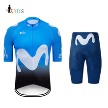 Movistar Boys Cycling Jersey Kids Team Children Kits Outdoor Bicycle Uniforme Clothing Suits Ropa De Ciclismo