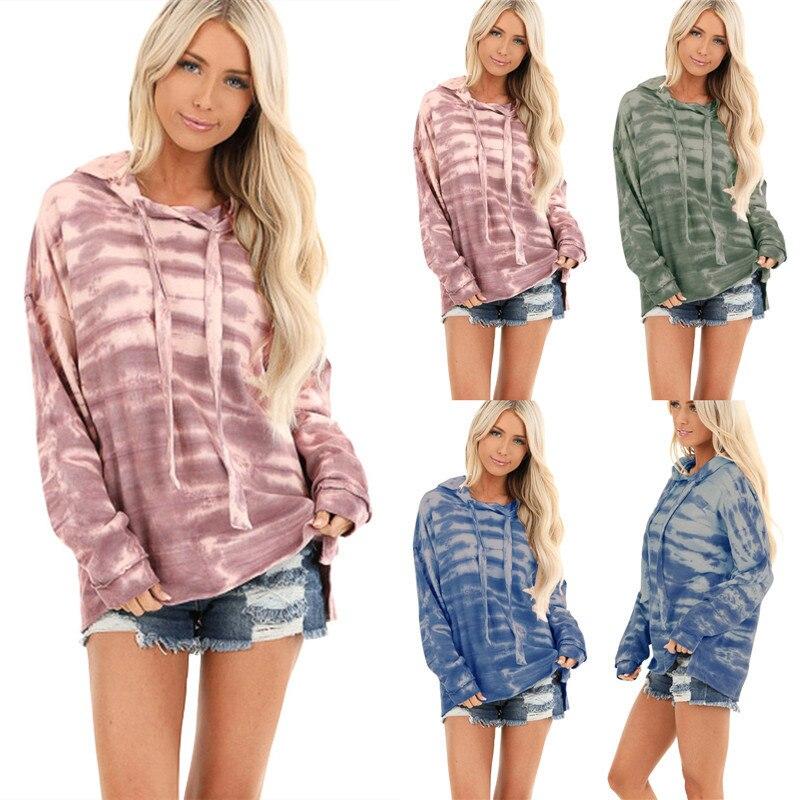 2019 Autumn And Winter Women Long Sleeve Loose Striped Tie Dye Printed Hooded Sweatshirt