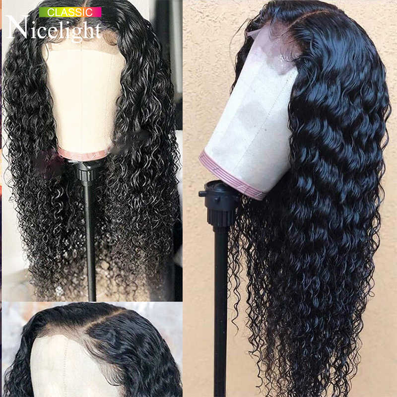 Deep Wave Wig With Closure Nicelight Brazilian Human Hair Wigs 4X4 Closure Wig Deep wave Lace Wig Remy Hair For Black Women