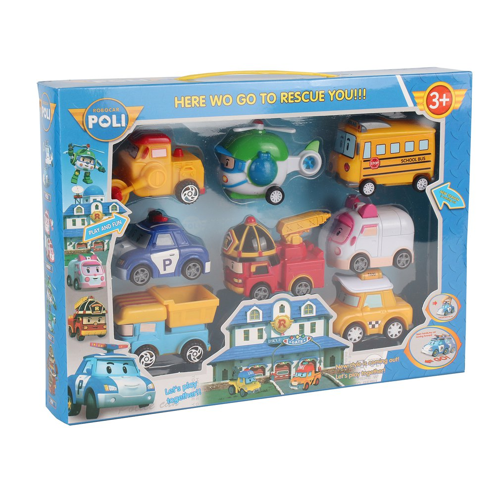 8-in-1 Robot Cars Toy Non-toxic Pull Back Cars Vehicle Set Transformer Robot Cute Cartoon Educational Toy For Children 3+